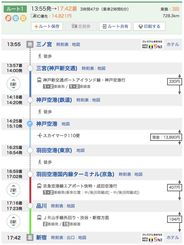 神戸→東京(飛行機)